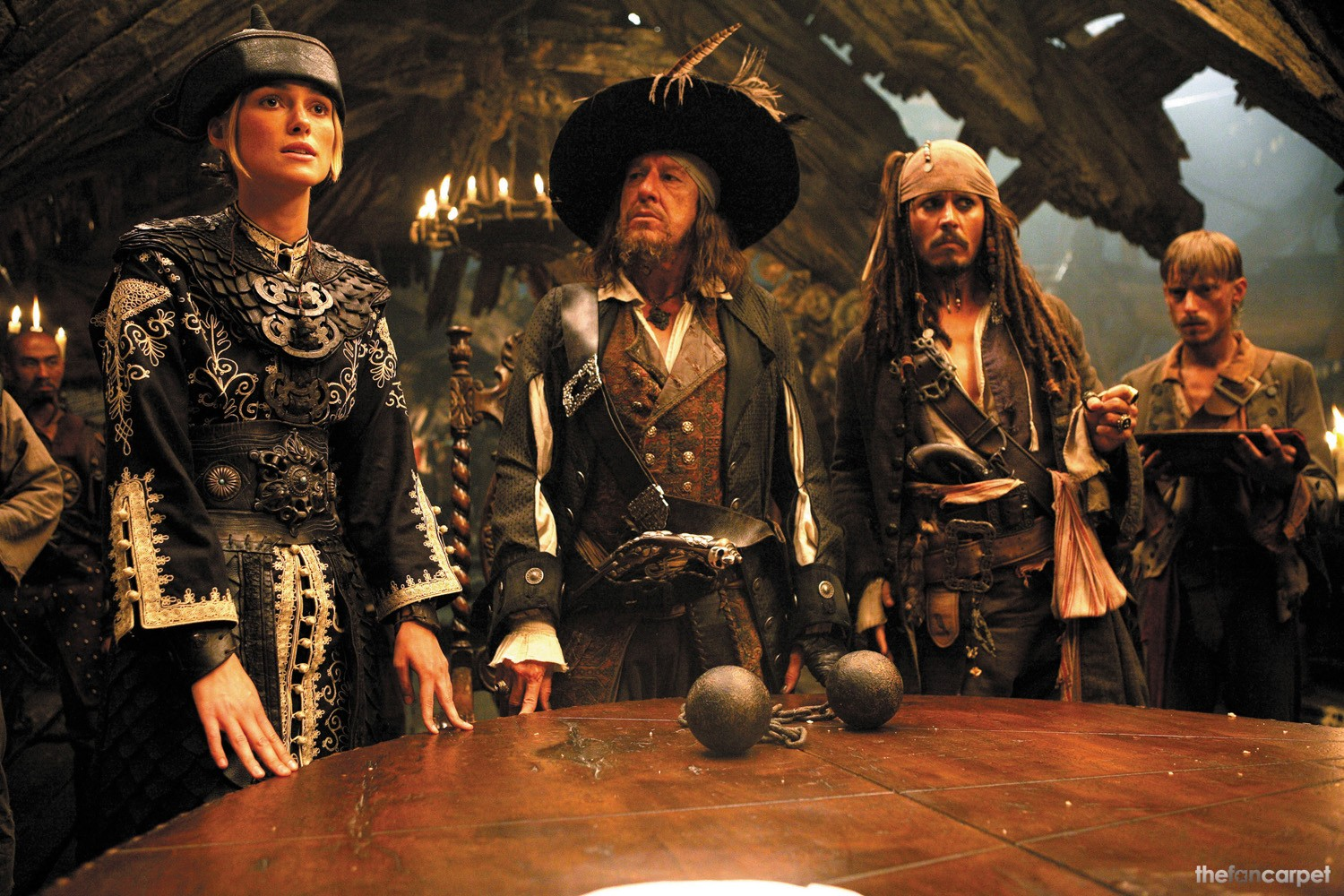 Geoffrey Rush,Johnny Depp,Keira Knightley,Mackenzie Crook