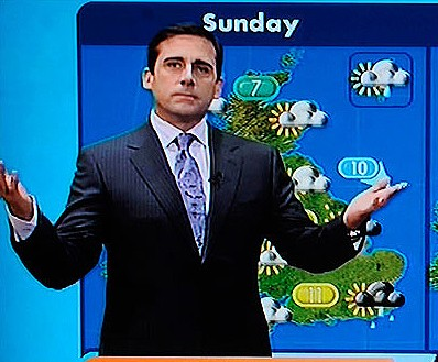 steve carell gmtv weather report with brick tamland
