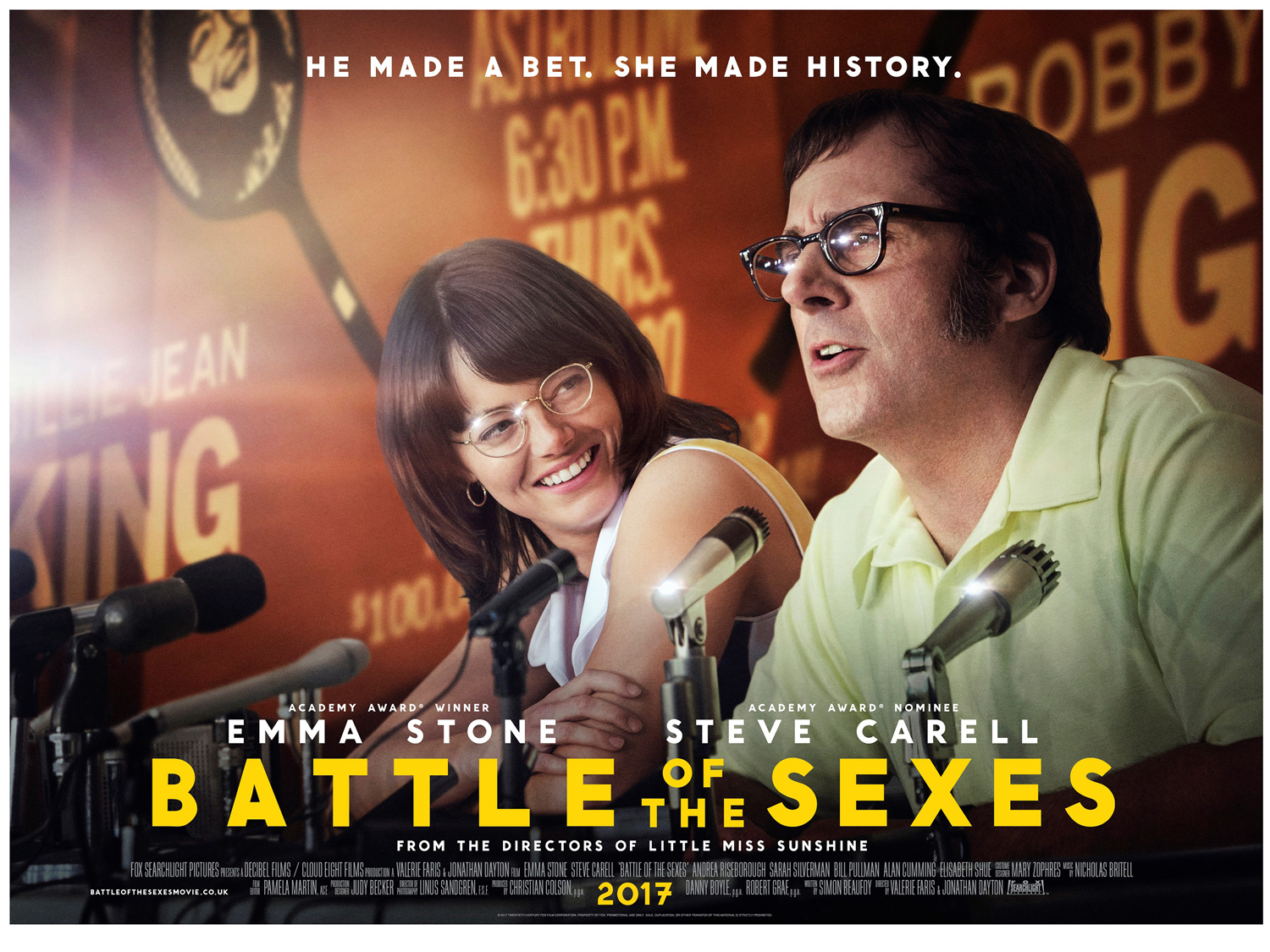 "battle of sexes Going into ""battle of the sexes,"" one might expect an equally-balanced look at the lives of self-proclaimed chauvinist bobby riggs and tennis superstar billie."